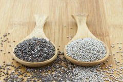 Chia seeds on wooden spoon. Black and white chia seeds on wooden spoon royalty free stock images