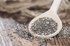 Chia Seeds on a wooden spoon stock photography