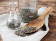 Chia seeds on a wooden spoon Royalty Free Stock Photo