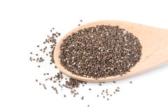 Chia seeds in a wooden spoon Stock Photo