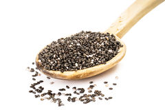 Chia seeds on a wooden spoon Stock Images