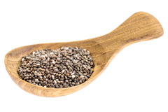 Chia seeds on wooden tablespoon Royalty Free Stock Photos