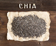 Chia seeds with a word CHIA Royalty Free Stock Images