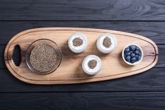 Chia seeds yogyrt pudding Stock Photos