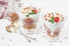 Chia semeia o parfait do pudim para a dieta e a desintoxicação imagem de stock