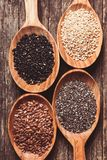 Chia, sesame, flax Royalty Free Stock Photo
