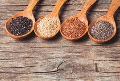 Chia, sesame, flax Stock Image