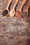 Chia, sesame, flax Royalty Free Stock Photos