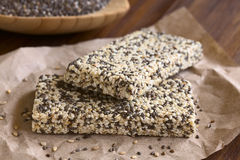 Chia and Sesame Granola Bars Stock Photography