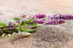 Chia siembra el superfood sano con la flor Foto de archivo libre de regalías