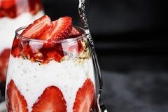 Chia Strawberry Parfait Macro Stock Image