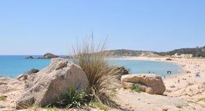 Chia - Su Giudeu. Spiaggia Su Giudeo, Chia - Domus De Maria Cagliari. Sardegna royalty free stock photography