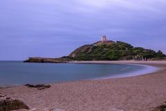 Chia Tower At Sunset, Sardegna, Italia immagine stock