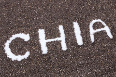 Chia word made from chia seeds background Royalty Free Stock Photo