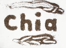 Chia word made from chia seeds on white background. Stock Photos