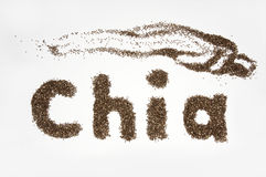 Chia word made from chia seeds on white background. Healthy Chia Royalty Free Stock Photography