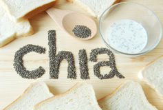 Chia ziarna z grzanka chlebem Fotografia Stock
