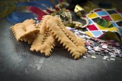 Chiacchere para el partido del carnaval imagen de archivo libre de regalías