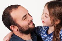 Chiacchierata della figlia del padre Fotografie Stock