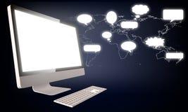 Chiacchierata sul desktop sociale del pc di media illustrazione vettoriale