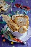 Chiacchiere, Carnaval gebraden gebakjes Sluit omhoog stock fotografie
