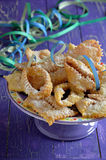 Chiacchiere, carnival fried pastries. Close up. Royalty Free Stock Photography
