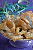 Chiacchiere, karnawał smażył ciasta z bliska Zdjęcie Royalty Free