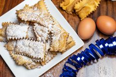 Chiacchiere, a Traditional Italian Fried Sweets royalty free stock photo