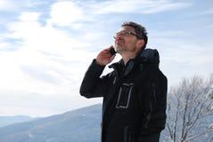 Chiamare alpinista Immagine Stock