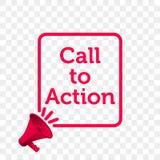 Chiamata all'icona di vettore del megafono di citazione del messaggio di azione Immagini Stock