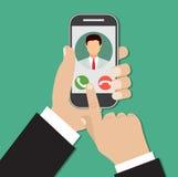 Chiamata in arrivo sullo schermo dello smartphone illustrazione vettoriale