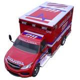 Chiamata d'emergenza e 911: furgone dell'ambulanza isolato su bianco Fotografia Stock