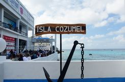Chiamata di Isla Cozumel Sign Port Of su crociera norvegese Immagine Stock