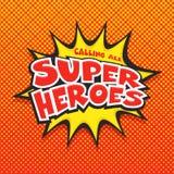 Chiamata di tutti gli eroi eccellenti, Pop art illustrazione di stock