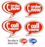 Chiamata ora, di ordine bolle di discorso ora illustrazione di stock