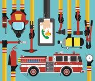 Chiamata pianamente online infographic di concetto di estinzione di incendio con l'autopompa antincendio Immagine Stock