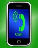 Chiamata sulla conversazione o sulla chiacchierata di manifestazioni del telefono Fotografia Stock