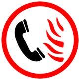 Chiami il firestation se vedete il fuoco fiammeggiare il segnale stradale d'avvertimento illustrato dell'icona su fondo bianco Fotografia Stock Libera da Diritti
