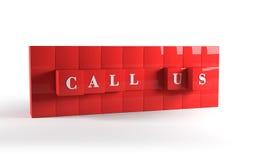 Chiamici cubi rossi rappresentazione 3d Immagine Stock
