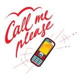 Chiamimi prego telefono cellulare Fotografia Stock