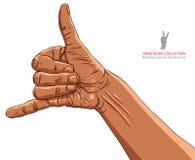 Chiamimi segno della mano, l'etnia africana, illustrati dettagliato di vettore Immagine Stock
