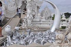 CHIAN RAI THAILAND, NOVEMBER 2011, INGÅNG AV TH FÖR WAT RONG KHUM arkivbilder