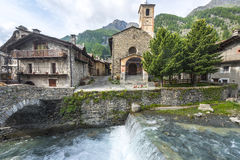 Chianale (Italian Alps). Chianale (Cuneo, Val Varaita, Piedmont, Italy), old typical mountain village in the Italian Alps at summer Stock Photography