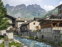 Chianale (Italian Alps). Chianale (Cuneo, Val Varaita, Piedmont, Italy), old typical mountain village in the Italian Alps at summer Stock Photo