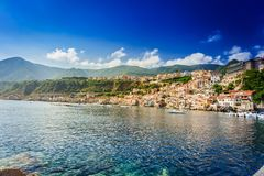 Chianalea di Scilla, fishing village in Calabria. Panoramic view of Chianalea di Scilla, fishing village in Calabria, Italy stock photos