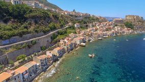 Chianalea homes in Scilla. Aerial view of Calabria, Italy.  royalty free stock photography