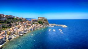 Chianalea homes in Scilla. Aerial view of Calabria, Italy royalty free stock photography