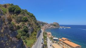 Chianalea homes in Scilla. Aerial view of Calabria, Italy.  stock image