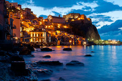 Chianalea by night. Chianalea (Scilla to Reggio Calabria) blue hour Royalty Free Stock Photography