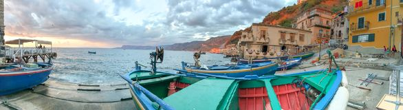 Chianalea panoramic coastline at sunset, Scilla, Calabria - Ital. Y stock images